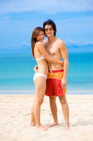 A young Asian couple at the beach Stock Photo - 2651239