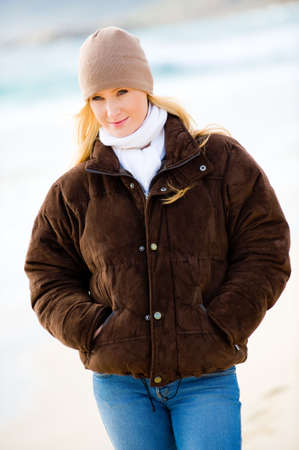 wooly: A young attractive woman outside in winter wear Stock Photo