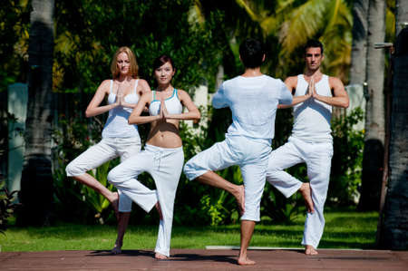 A small group of adults attending a yoga class outside in a tropical setting photo