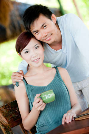An attractive couple together in the morning with coffee Stock Photo - 4755228