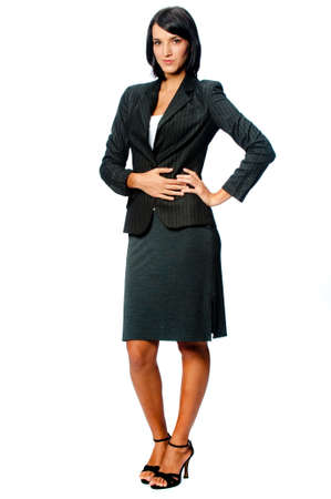 An attractive young businesswoman in a pinstripe suit on white background Stock Photo - 4829226