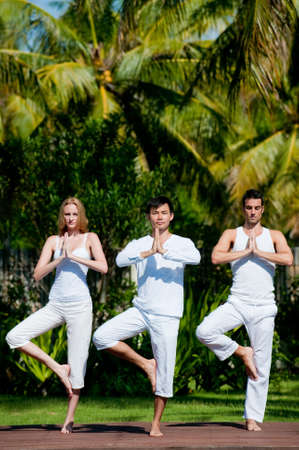A group of three adults standing outside doing yoga photo