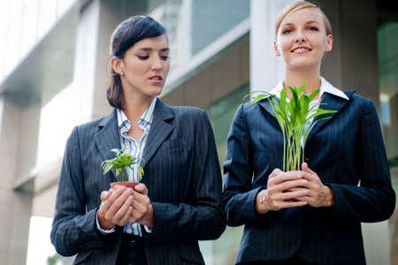 business rival: Dos empresarias competitivas cataci�n sus plantas en sus manos