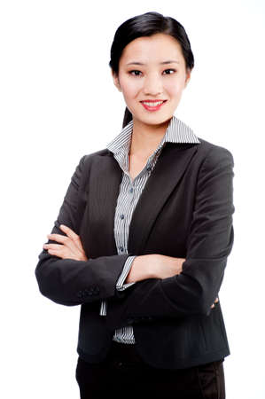 An attractive Asian businesswoman in a suit on white background