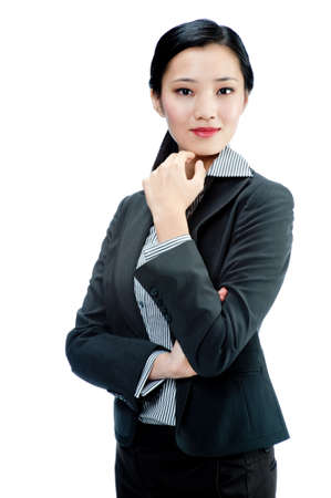 woman in suit: An attractive Asian businesswoman in a suit on white background