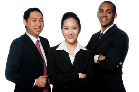 A small grouo of young business professionals on white background photo