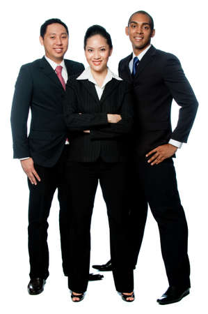 three men: A small grouo of young business professionals on white background