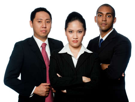 A small group of young business professionals on white background photo