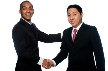 Two young businessmen on white background photo