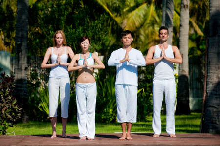 A group of four adults standing outside doing yoga photo