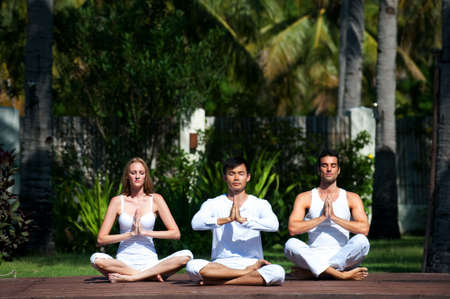 An attractive group of people practicing yoga outdoors photo