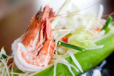 A refreshing salad with cooked prawns on top Stock Photo - 6310908