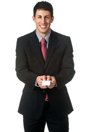 namecard: An attractive businessman extending out his namecard against white background