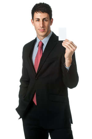 namecard: An attractive businessman holding up his namecard against white background
