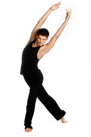 male dancer: An attractive athletic dancer posing against white background