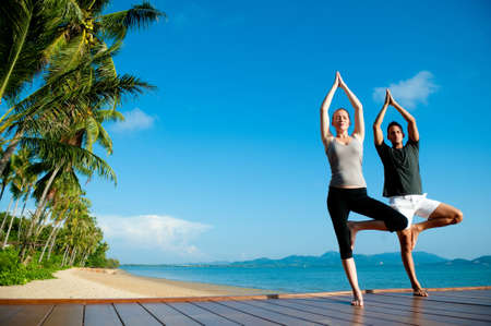 An attractive young woman and man doing yoga on a jetty with the blue ocean and another island behind them Stock Photo - 9699238