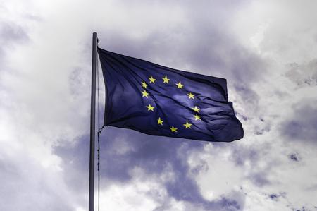 Flag of Europe, dramatic sky 版權商用圖片