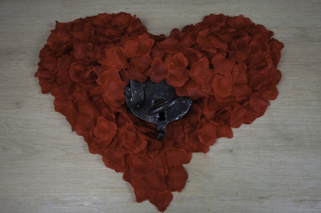heart of red rose petals and iron medieval lock with key
