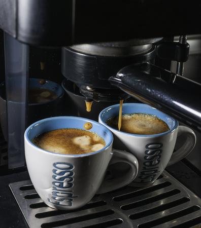 Two cups of italian coffee espresso