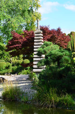 ner: Pagoda in Japanese garden in Bonn Rheinauen Stock Photo