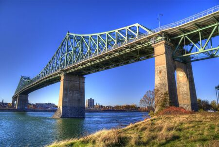 HDR photo of the Jaque Cartier bridge at Montreal Stock Photo - 7333278