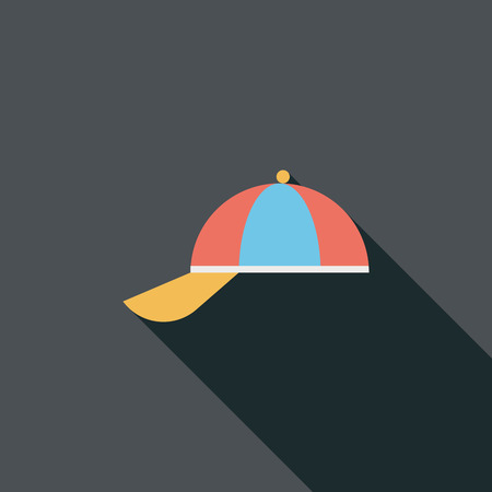 peaked cap: Peaked cap flat icon with long shadow