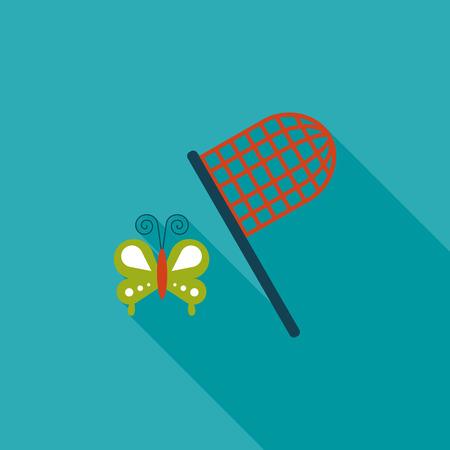 butterfly net: butterfly net flat icon with long shadow