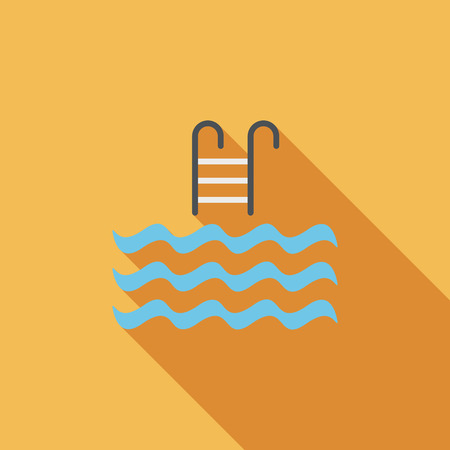 swimming silhouette: Pool flat icon with long shadow Illustration
