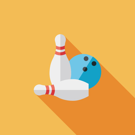 Bowling game flat icon with long shadow Vector