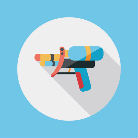 Water Gun flat icon with long shadow Vector