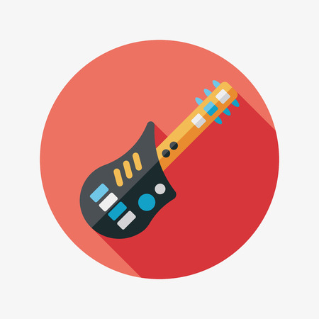 guitar flat icon with long shadow Vector