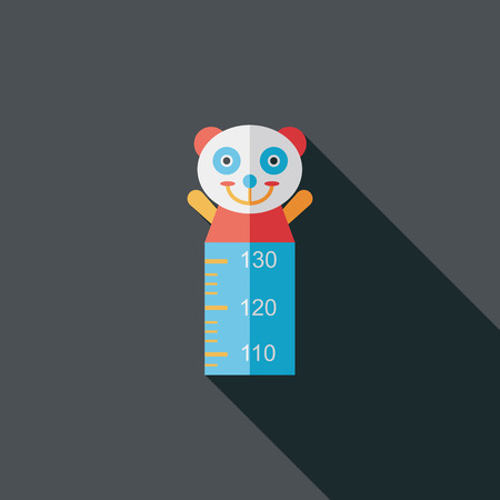 long and short scales: Height scale flat icon with long shadow