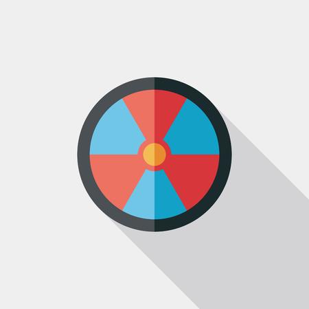 nuke: Radiation Flat style Icon with long shadows