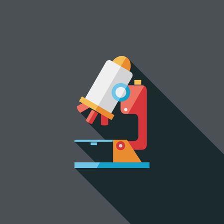 microscope flat icon with long shadow Illustration