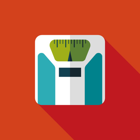 Flat style with long shadows, weight scale vector icon illustration.