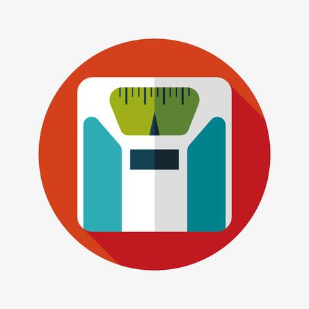 Vlakke stijl met lange schaduwen, weegschaal illustratie vector icon.