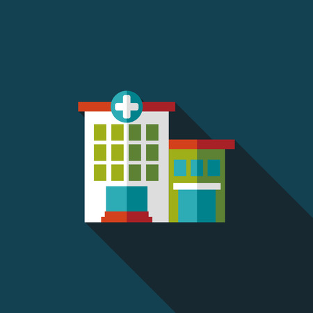 hospital building: hospital building flat icon with long shadow