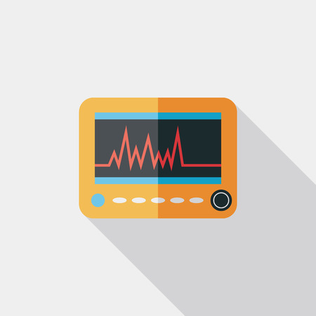 monitor in the ICU. Flat style Icon with long shadows Illustration