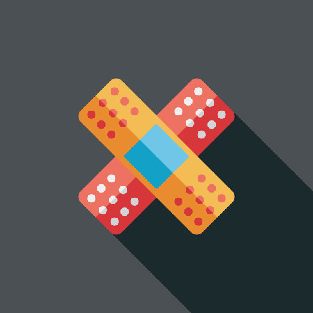 adhesive plaster: medical bandage flat icon with long shadow