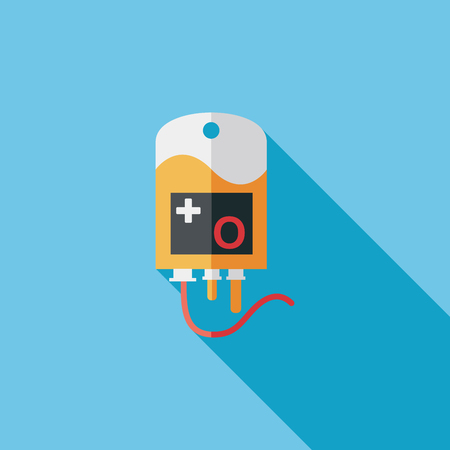 IV bag Flat style Icon with long shadows Vector