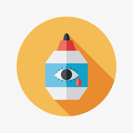 lube: Eye Drop flat icon with long shadow Illustration
