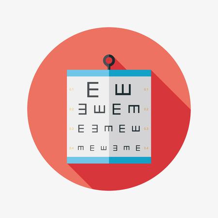 optometrist: eye test chart flat icon with long shadow