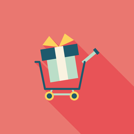shopping cart flat icon with long shadow 向量圖像
