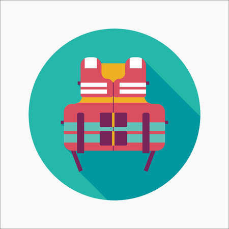 life vest flat icon with long shadow Vector