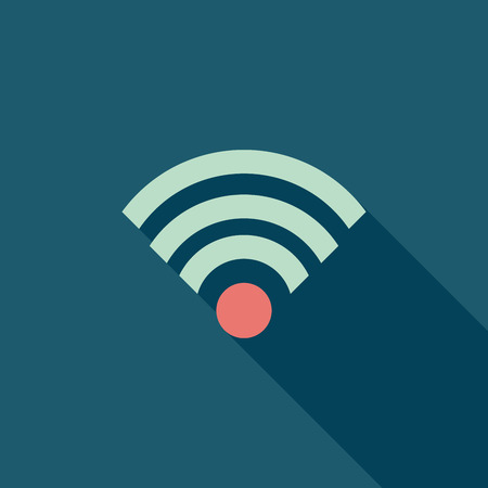wireless icon: Wireless flat icon with long shadow