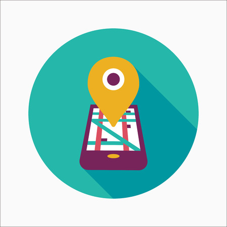 Navigation concept flat icon with long shadow Illustration