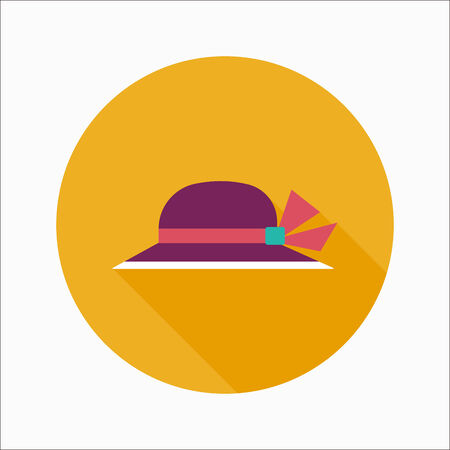Women hat flat icon with long shadow Vector