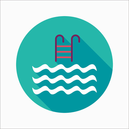 Pool flat icon with long shadow Vector