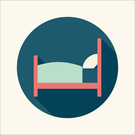 Hotel flat icon with long shadow Vector