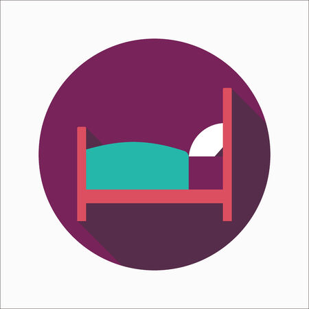 lying in bed: Hotel flat icon with long shadow